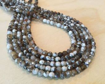 Brown and Cream Fired Agate Faceted Beads 4mm