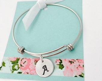 Initial Bracelet, Monogram Bracelet, Monogram Jewelry, Personalized Silver Bangle, Initial Jewelry, Bracelet with initial