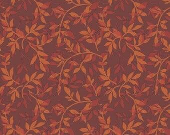 Ginger Rose Fabric - Orange Branches Fabric