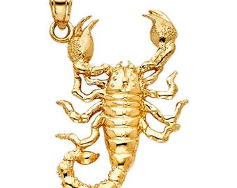 Scorpion Pendant 14k Solid Yellow Gold Pendant - Escorpion 14k Gold Pendant