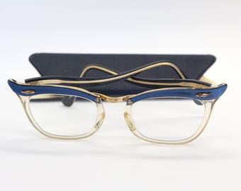 Vintage 1950s TRIDENT (20) CAT EYE Blue and Clear Plastic Frames/Glasses/Spectacles in Original Case Lens Prescription unknown