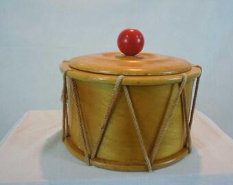 Vintage Wood Drum Container With Lid. Cookie Jar. Storage Box.