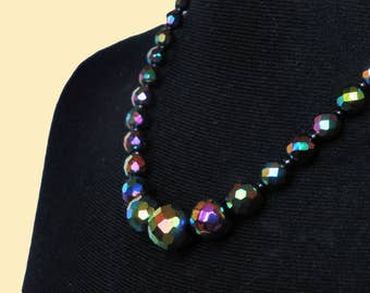 Black Vintage Aurora Borealis necklace with faceted crystal glass beads