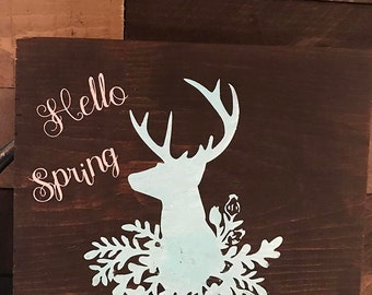 Wood stained deer silhouette