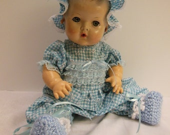 Blue Gingham Jumper Set for 15-16 inch Effanbee Dy Dee Baby Dolls
