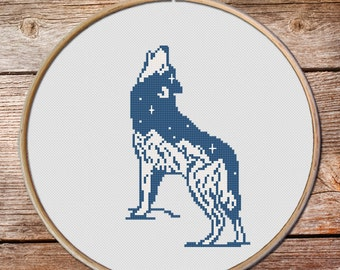 Cross Stitch Pattern, Wolf Cross Stitch pattern, keeper of the night cross stitch pattern, totem animals, mountains cross stitch, Wolf #005