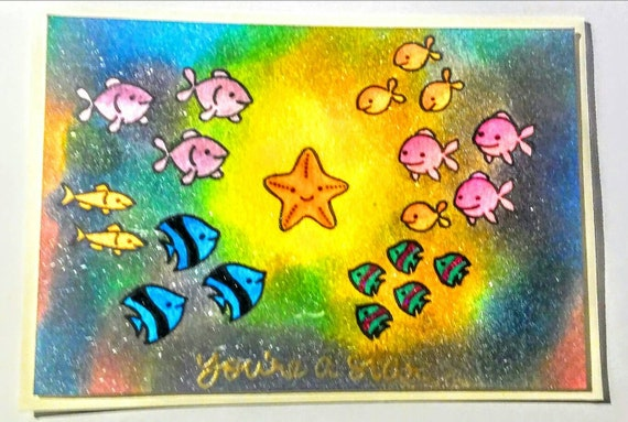 "Lawn Fawn ""You're A Star"" Inked Galaxy and Ocean Creatures Card"