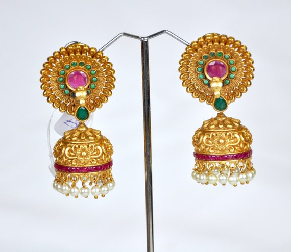 Antique nagas Jhumkis in red and green with pearls   Indian Jewelry   Indian Earrings   temple jewelry temple jhumkis