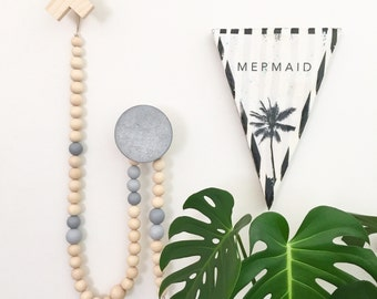 Luxe Wooden Bead Garland 1.2m on Leather Scandi Coastal Boho Nursery Grey Baby Shower Teepee Topper