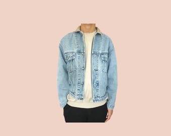 Denim jacket with leather collar // size M
