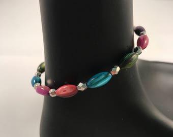 Shell bracelet, pink bracelet, purple bracelet, blue bracelet, green bracelet, multicolor bracelet