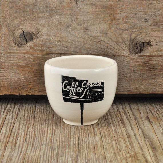Porcelain espresso / tea cup with vintage COFFEE SHOP sign