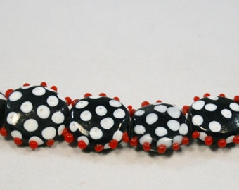 Black, White and Red Lampwork Beads With Bumps   8 Beads   (14 mm)
