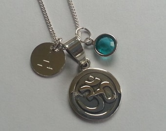 Sterling Silver Personalised Om Aum Pendant Necklace Yoga Jewellery
