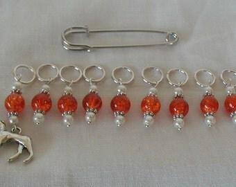 Knitting Stitch Markers Greyhound/Whippet Orange Glass Beads Handmade Set Nine