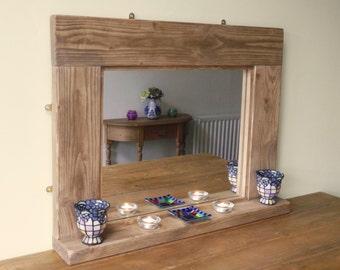 Chunky rustic wall mirror with shelf