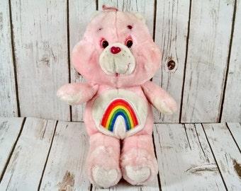 """Care Bears Cheer Bear Plush Stuffed Animal 1983 ~ Vintage Care Bears Toy ~ Kenner ~ Rainbow Bear 13"""""""