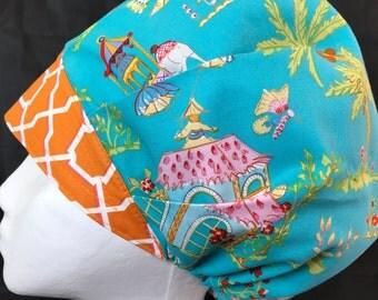 Elephant Clique Desert Scrub Hats for Women Surgical Caps Bouffant Tech Nurse Anesthesia Cap OR Surgery Hat Teal Blue Orange LoveNstitchies