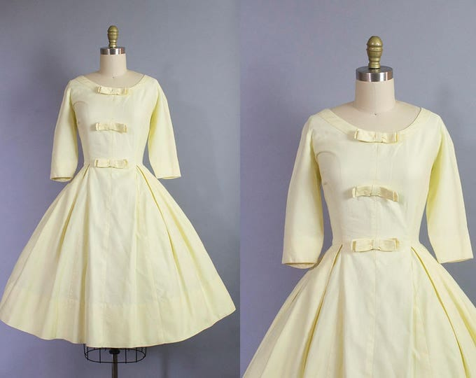 1950s yellow day dress/ 50s cotton pique dress w/ bows/ medium