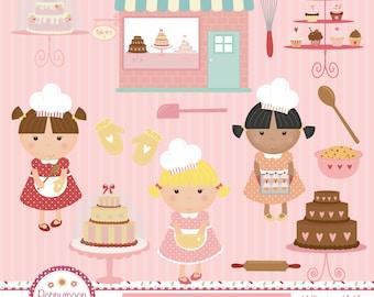 Cute bakery, girl chef, cakes, digital clip art set