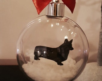 Pembrokeshire Welsh Corgi Silhouette in Snow Acrylic Bauble can be Personalised