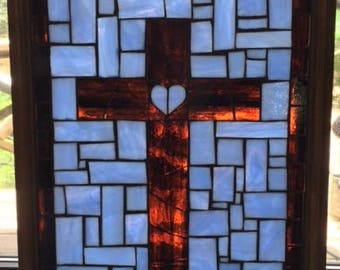 Stained Glass Mosaic Window Hanging/ Sun Catcher/ Framed/ Cross/ Religious/ Blue/ Brown/ Glass on Glass