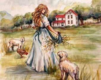 Farm Fresh Flowers - Farmhouse 11x14 Watercolor Painting