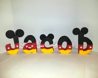 Mickey mouse wood name letters - PRICE PER LETTER - Mickey mouse name - Mickey mouse decor - wood name letters - Disney name - Mickey mouse