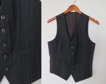 Mens grey pinstripe waistcoat vest, striped charcoal dark grey wool, french vintage, traditional classic formal, x small, teens