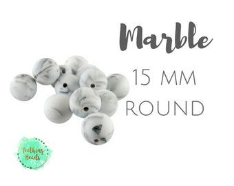 Lot of 10 - 15mm Marble Round Silicone Teething Beads | DIY Silicone Bead Supplies |Chew Beads | BPA Free | Wholesale Loose Silicone Beads