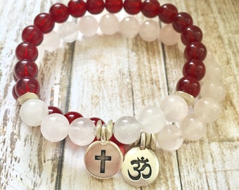Rose Quartz Garnet Czech Glass Spiritual Bracelet Stack