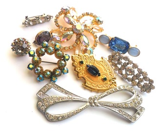Vintage Rhinestone Brooch Lot Instant Collection Wear Repair Colorful Sparkle Glass Wedding Bridal Bride Jewelry Accent Something Old