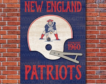 New England Patriots - Vintage Helmet - Art Print - Perfect for Mancave