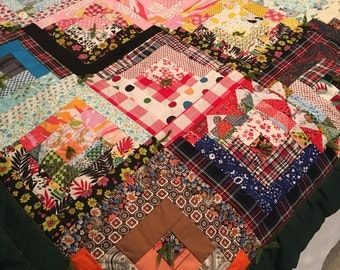 Vintage handmade colorful patchwork hand tied quilt~Work of art