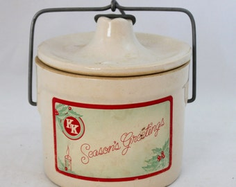 "Vintage Christmas/Holiday ""Seasons Greetings"" Kaukauna Klub Cheese Crock"