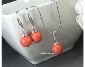 Coral Necklace Coral Earrings Pearl Jewelry Swarovski Necklace Swarovski Jewelry Bridal Jewelry Set Bridesmaids Gift Maid of Honor Gifts