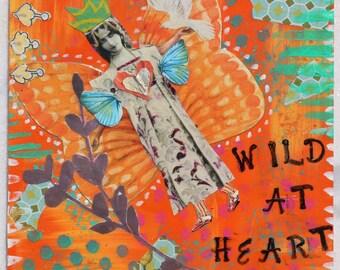 Wild At Heart Flying Angel Mixed Media Original