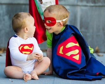 Superman Cape and Mask / Kids Cape/ Kids Superhero Costume / Toddler Birthday Party Outfit/ Boys  Capes