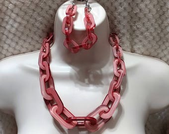 Pink Rose  Lucite, Chain Link,Necklace and Bracelet Set