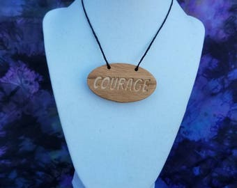 Courage necklace, courage pendant, strength necklace, bravery pendant