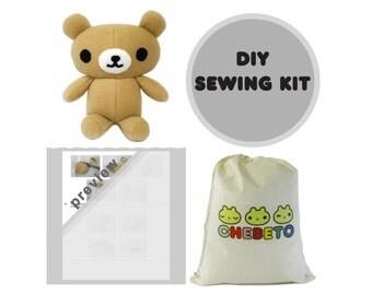 Bear Sewing Kit, Stuffed Animal Kit, DIY Plush Teddy Bear, DIY Sewing Gift, Plush Bear Sewing Kit, Teddy Bear Kit, Toy Bear Kit, Plush Bear