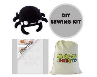 Spider Sewing Kit, Spider Plush Toy Kit, Halloween Plush Monster, Sewing Kit, Spider Toy Kit, Monster Kit, Plush Spider, Stuffed Spider Toy