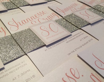 Glitter Belly Band | Initial Logo | Personalised Wedding Invitation Bundle
