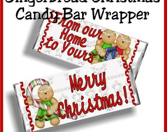 Gingerbread Christmas Candy Bar Wrapper Printable