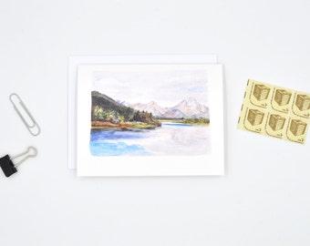 Wyoming State Art Card - Watercolor Notecard - Wyoming Gift - Wyoming Art - Grand Teton Art - Blank Notecards - Wyoming Watercolor