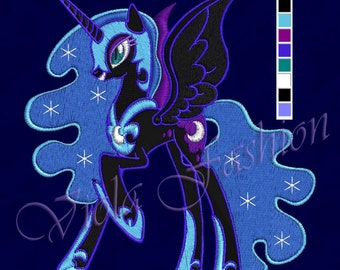 My Little Pony embroidery design 4x4 6x10 Nightmare Moon pes hus jef vip vp3 dst xxx exp