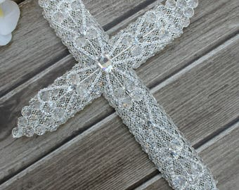 FAST Shipping!! Gorgeous Cross, Wedding Cross, Marriage Cross, Wedding Gift, Anniversary Gift, Crystals and Rhinestones Cross,