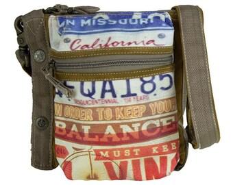 Sunsa woman shoulder bag canvas bag crossbody bag made of canvas and leather artnr.: 51859
