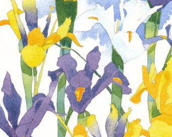 Original signed watercolor painting, 4.75 x 7.5 inches, yellow and purple iris, blue sky with white clouds.