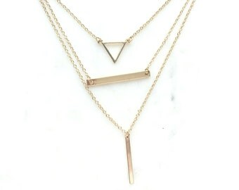 Layering Dainty Simple Gold Necklace Jewelry, Dainty Bar Triangle Necklace, Gold Layering Necklace, Minimalistic Necklace Everyday Jewelry